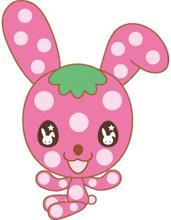 ■ラビベリーちゃんウサギとイチゴのハーフ。キャラクターホームページ:クリック